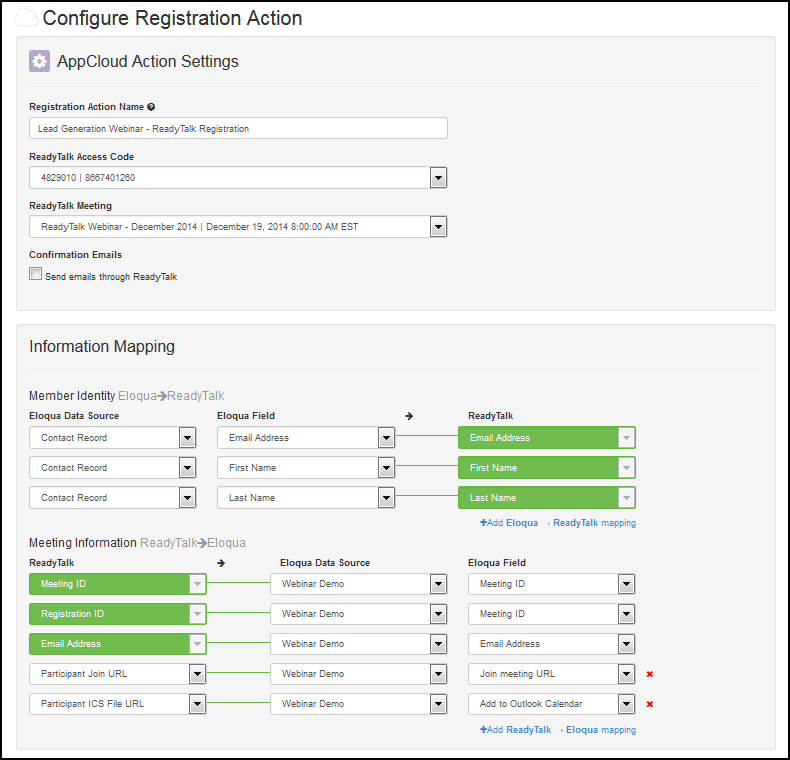 Oracle Marketing Cloud Registration Action